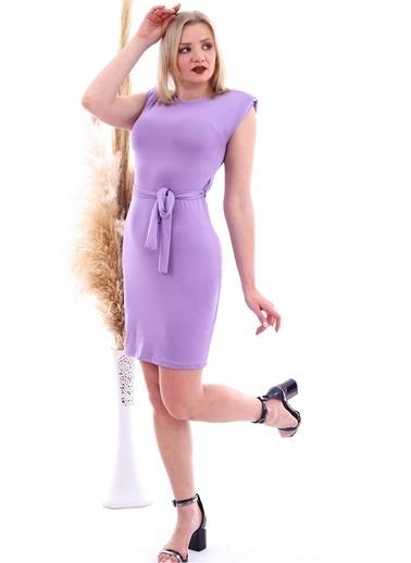 Cottonmood 20070783 Örme Krep Beli Kuşaklı Omuzu Vatkalı Elbise Vizon Yilan Lila